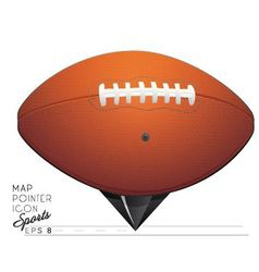 Colorful sports map pointer icon football eps 8 vector