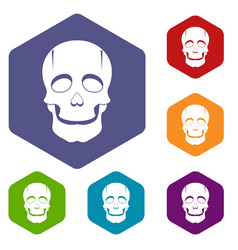 Singer mask icons set hexagon vector