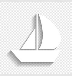 Sail boat sign white icon with soft vector