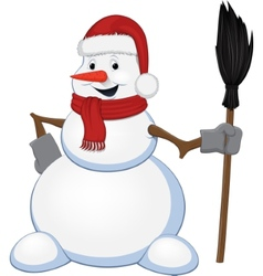 Cheerful snowman with a broom vector