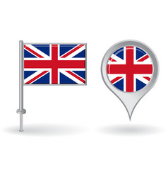 British pin icon and map pointer flag vector image