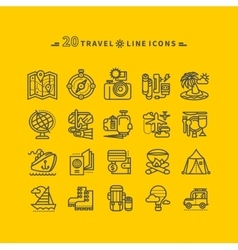 Set of black travel icons on yellow background vector