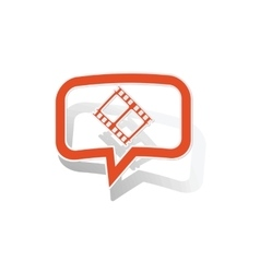 Movie message sticker orange vector
