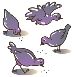 Pigeons peck feed vector
