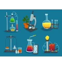 Design icons set of laboratory equipment vector