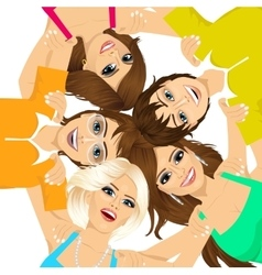 Five young happy smiling teenagers vector