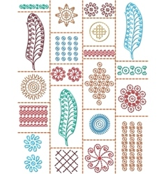 Postcard folk embroidery vector