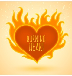 Symbol of burning heart with vector
