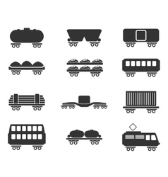 Rail-freight traffic icons vector