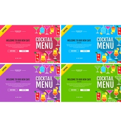 Flat style cocktail menu concept web site design vector