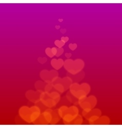 Valentines day ribbon with scattered bokeh hearts vector