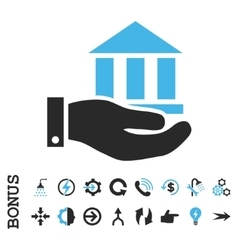 Bank service flat icon with bonus vector