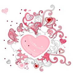 Abstract contour shape with hearts vector image vector image