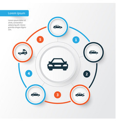 Auto icons set collection of van automobile vector