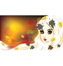 Autumn girl with white hair vector
