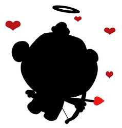 Baby cupid silhouette vector image