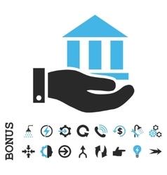 Bank Service Flat Icon With Bonus vector image