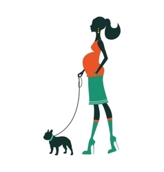 Beautiful woman silhouette with french bulldog vector