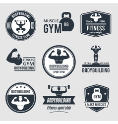 Bodybuilding label set vector