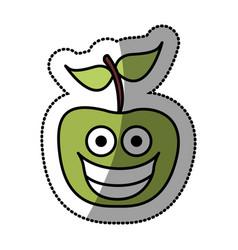 colorful green kawaii fruit apple happy icon vector image vector image