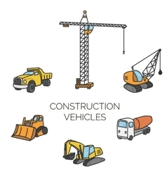 Construction vehicles cartoon vector