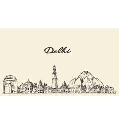 Delhi skyline hand drawn vector