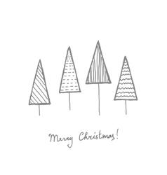 Fir trees postcard vector