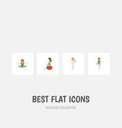 flat icon pregnant set of pregnancy meditation vector image
