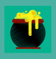 flat shading style icon halloween witches cauldron vector image