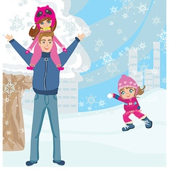 Fun with dad in the snow vector