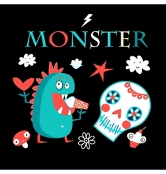 Graphic card with a funny monster vector image vector image