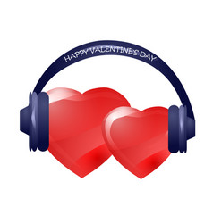 hearts with headphones vector image