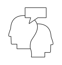Human heads communication talking outline vector