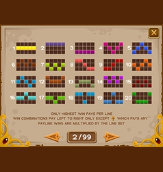 Info screen for slots game 2 vector image vector image