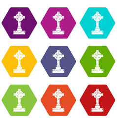 irish celtic cross icon set color hexahedron vector image