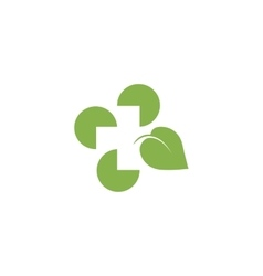 Isolated abstract green color leaf logo Medical vector image