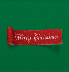 merry christmas scroll red ribbon vector image
