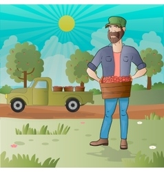 Middle aged man-farmer with box of fruits vector