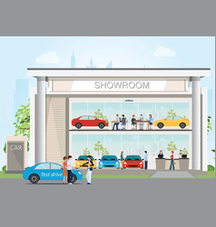 Modern car dealership showroom with reception vector