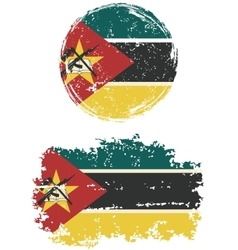 Mozambique round and square grunge flags vector