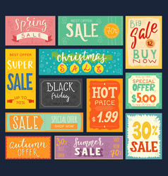 price tags sales stickers discount promotion sign vector image vector image