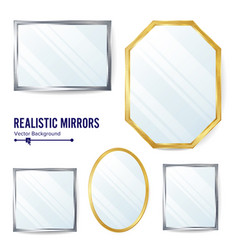 realistic mirrors set decoration mirror vector image vector image