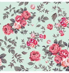 Rose seamless pattern pink mint vector