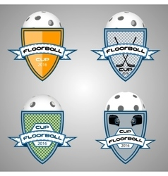 Set floorball logo for the team and the cup vector image vector image