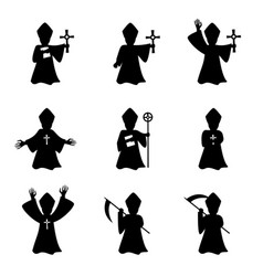 Set of bishop with book and cross in silhouette vector