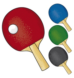 table tennis rackets and ball vector image vector image
