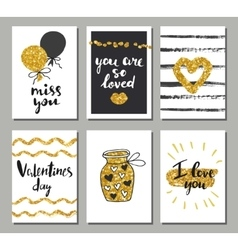 Valentines day set cards Calligraphy lettering vector image
