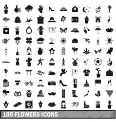 100 flowers icons set simple style vector