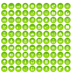 100 web development icons set green vector