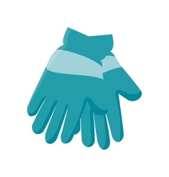 Winter gloves clothes icon vector